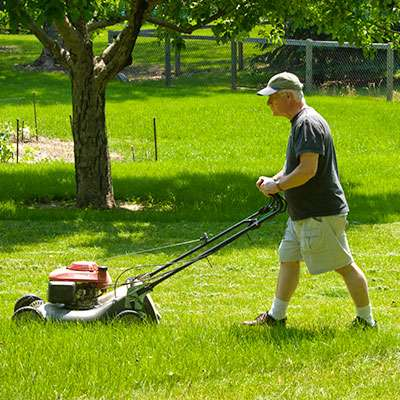 Mowing for exercise