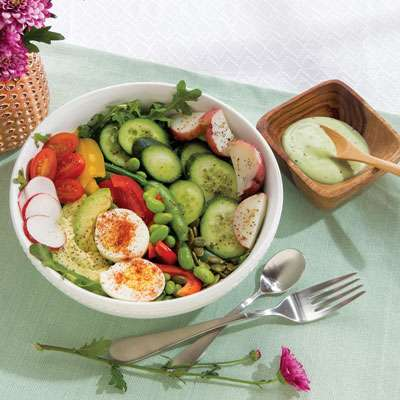 Veggie salad with green goddess dressing